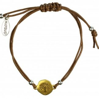Hultquist Engraved Tree Coin Macrame' Bracelet 1258BI-TA