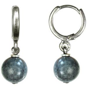 Hultquist Silver Hoop & Blue/Grey Stone Drop Earrings 1354S-BL