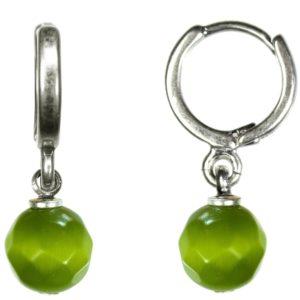 Hultquist Silver Hoop & Green Stone Drop Earrings 1354S-GR