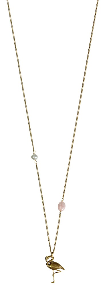 Hultquist Flamingo Long Gold Necklace 1360G
