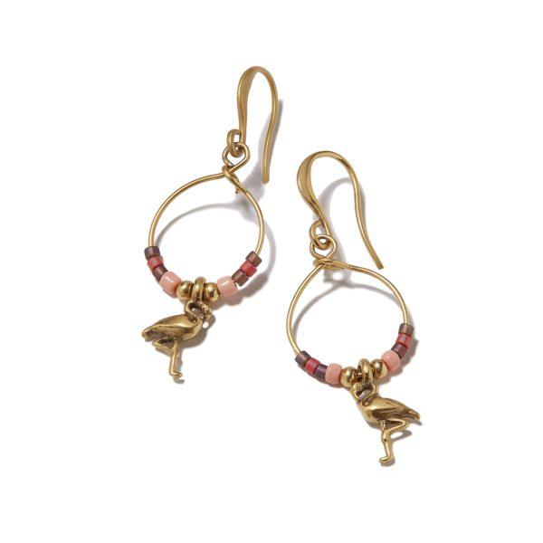 Hultquist Flamingo & Bead Hook Earrings 1364G