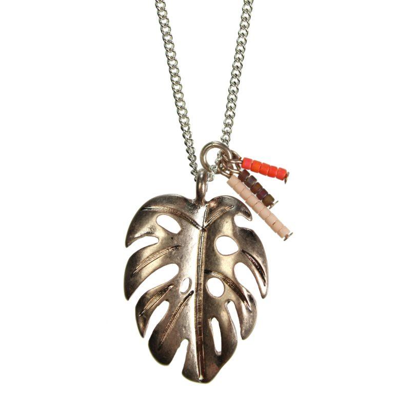 Hultquist Monstera Leaf & Bead Tassel Necklace 1368S-RG