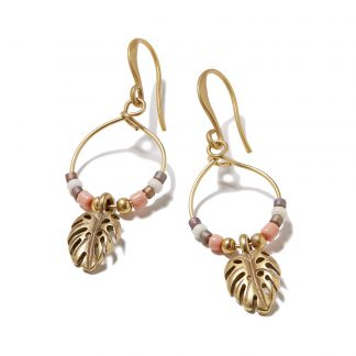 Hultquist Monstera Leaf & Bead Hook Earrings 1373G