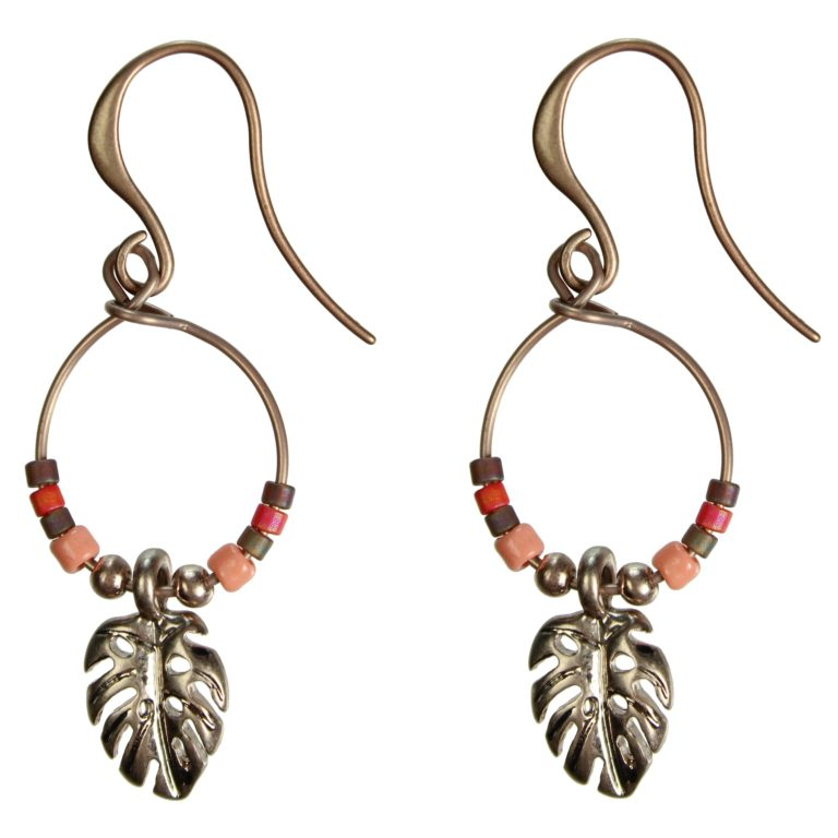 Hultquist Monstera Leaf & Bead Hook Earrings 1373RG