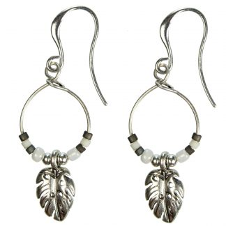 Hultquist Monstera Leaf & Bead Hook Earrings 1373S