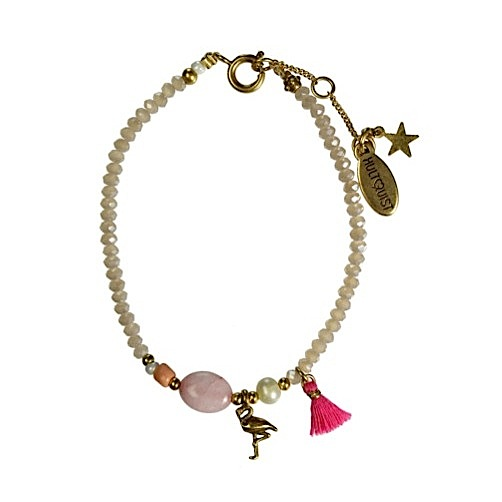 Hultquist Flamingo & Rose Bead Bracelet Gold 1374G