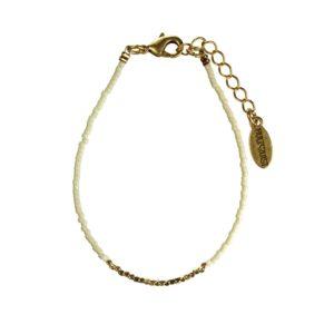 Hultquist Japanese Bead Bracelet Gold Beige 1430G-BE