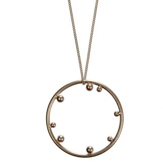 Hultquist Circle Stud Long Necklace Rose Gold 1395RG