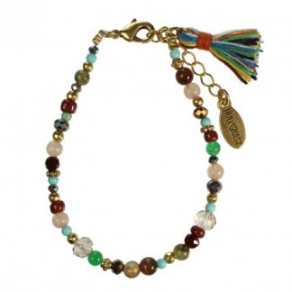 Hultquist Glass Bead Bracelet Gold 1406G