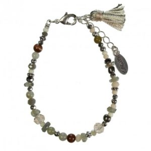 Hultquist Glass Bead Bracelet Silver 1406S