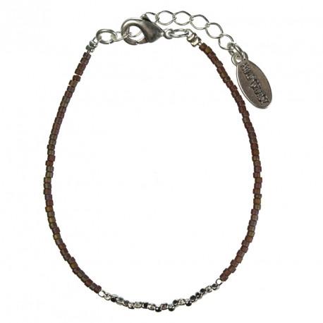 Hultquist Japanese Bead Bracelet Silver Brown 1430S-BR