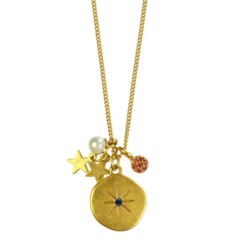 Hultquist Moon & Star Charm Long Necklace Gold