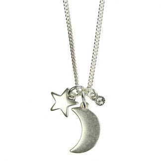 Hultquist Crescent Moon & Star Long Necklace Silver 1330S