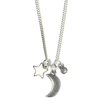 Hultquist Crescent Moon & Star Necklace Silver 1331S