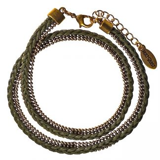 Hultquist Double Wrap Bracelet Gold Khaki 392484G-K
