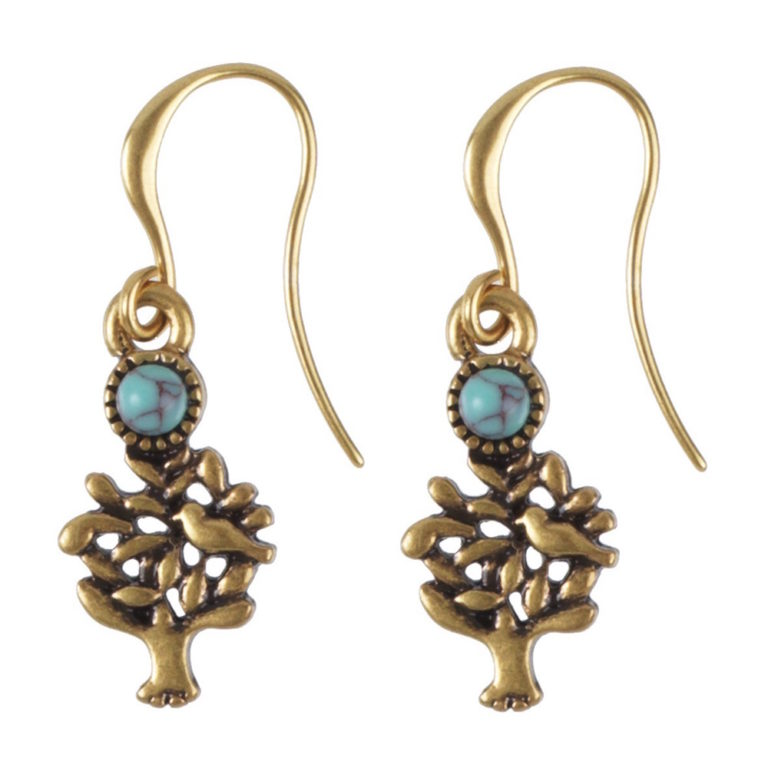 Hultquist Gold Tree Hook Earrings with Turquoise Stone 0622G-T