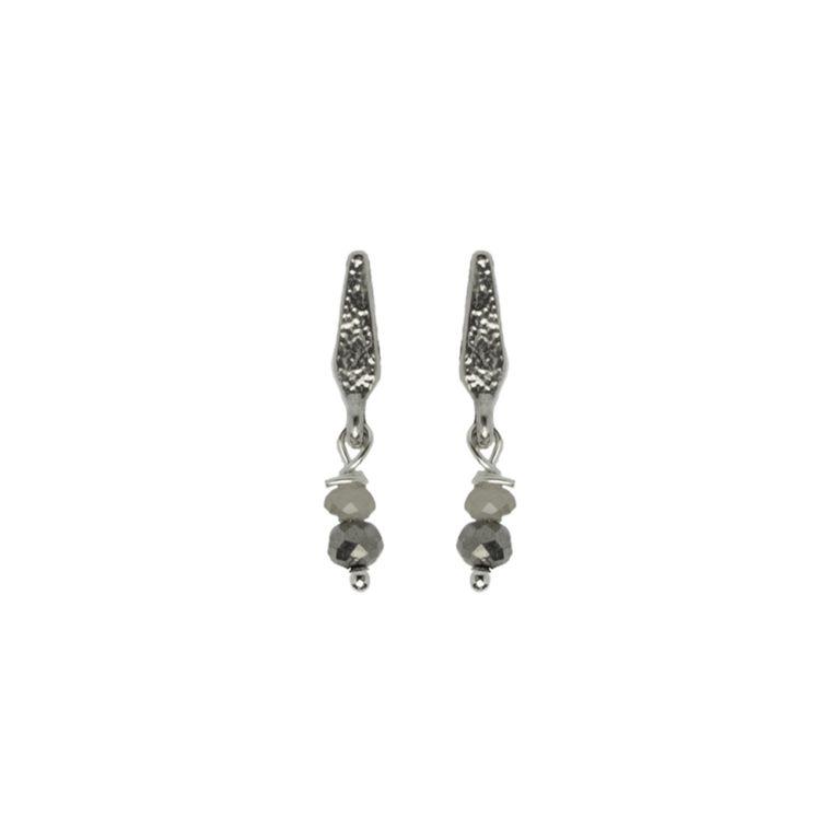 Hultquist Rhombus Glass Drop Earrings Silver 1445S