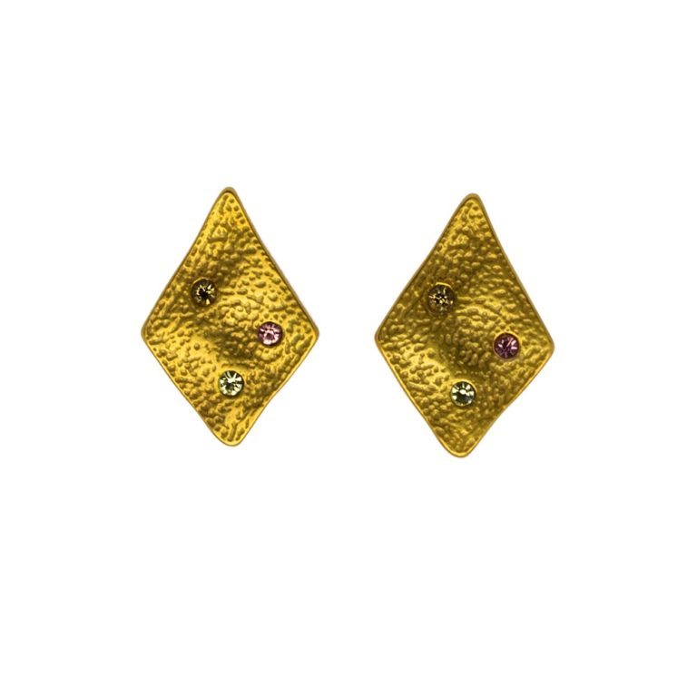 Hultquist Rhombus Coloured Stone Earrings Gold 1448G