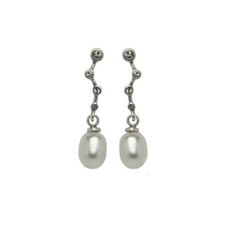 Hultquist Constellation Pearl Drop Earrings Silver 1453S