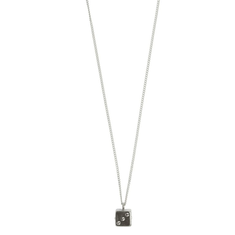 Hultquist Long Chain Dice Necklace Silver 1477S