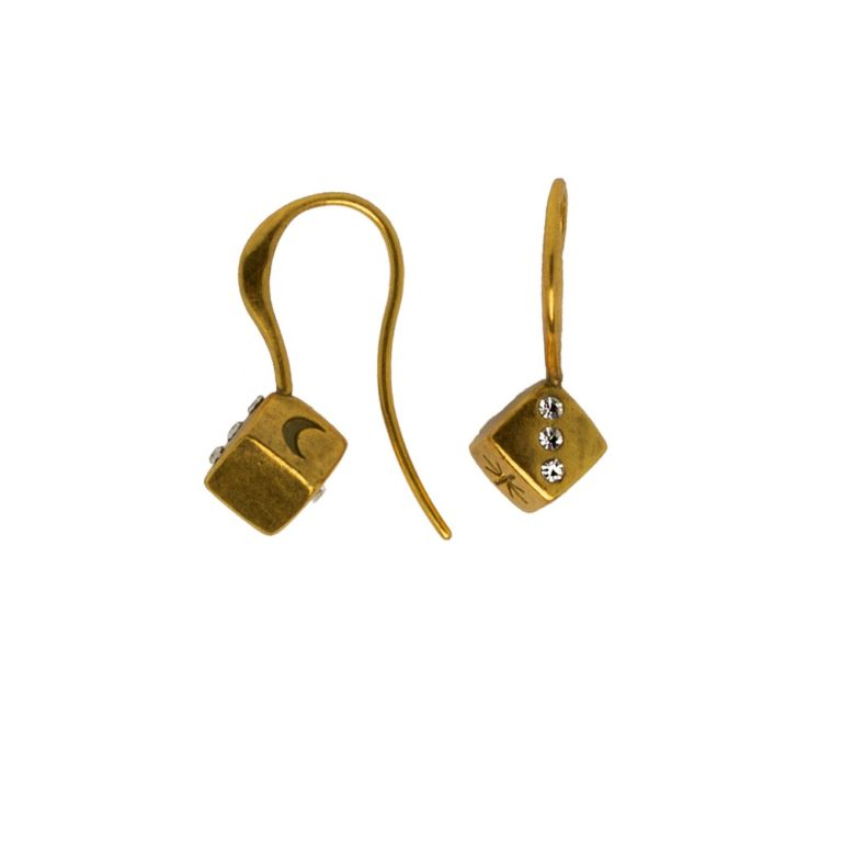 Hultquist Dice Hook Earrings Gold 1479G