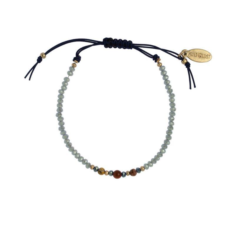 Hultquist Glass Bead Macrame Bracelet Rose Blue 1490RG-BL