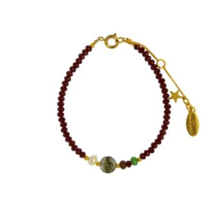 Hultquist Glass Bead Bracelet Red Gold 1491G