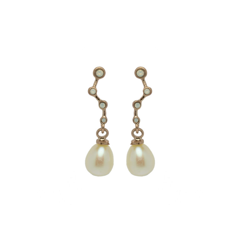 Hultquist Constellation Pearl Drop Earrings Rose Gold 1453RG