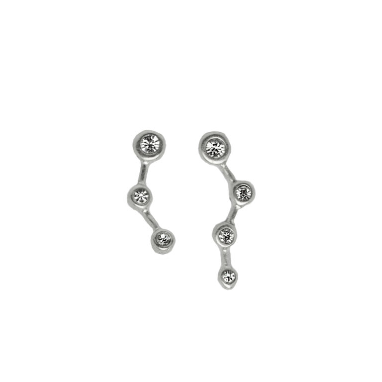 Hultquist Constellation Asymmetrical Earrings Silver 1455S