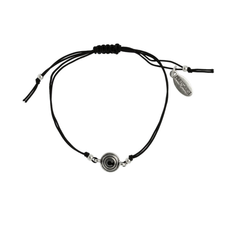 Hultquist Classic Macrame' Bracelet Hematite Crystal 1485S-B