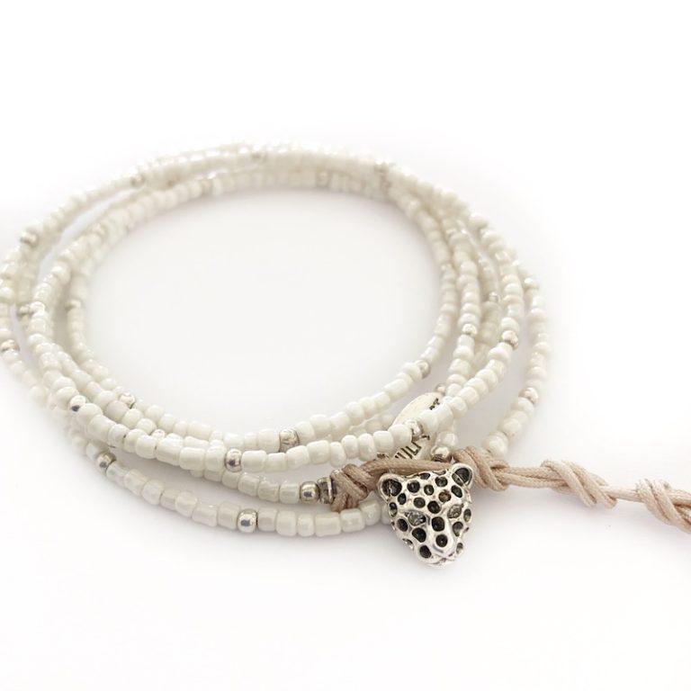 Hultquist Leopard Wrap Bracelet Silver 0045S-OY