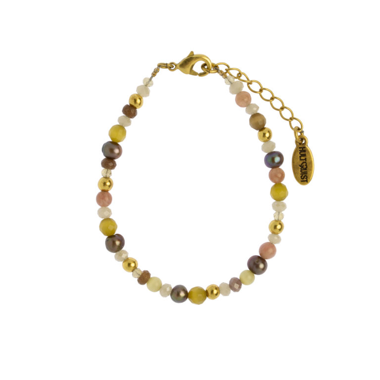 Hultquist Multi Coloured Bead Bracelet Gold 1474G