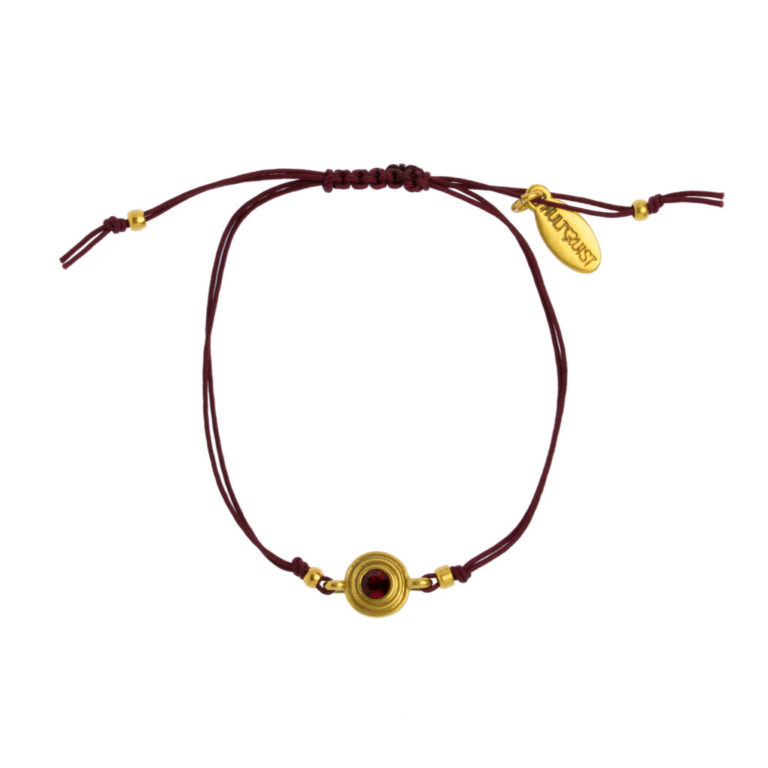 Hultquist Classic Macrame' Bracelet With Siam Crystal 1485G-R