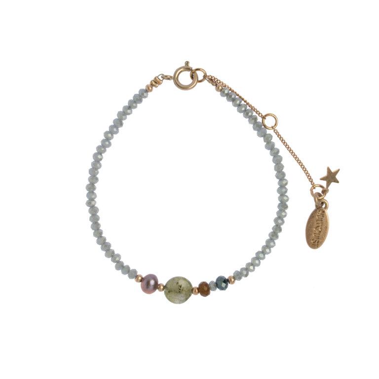 Hultquist Glass Bead Bracelet Blue Rose 1491RG-BL