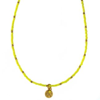 Hultquist Yellow Bead Coin Necklace Gold 04375G