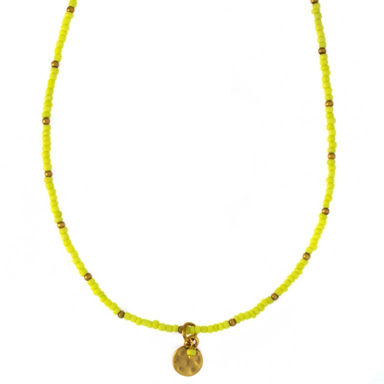 Hultquist Coin & Yellow Bead Necklace 04375G