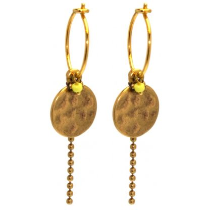 Hultquist Yellow Bead Coin Hoop Earrings Gold 04377G