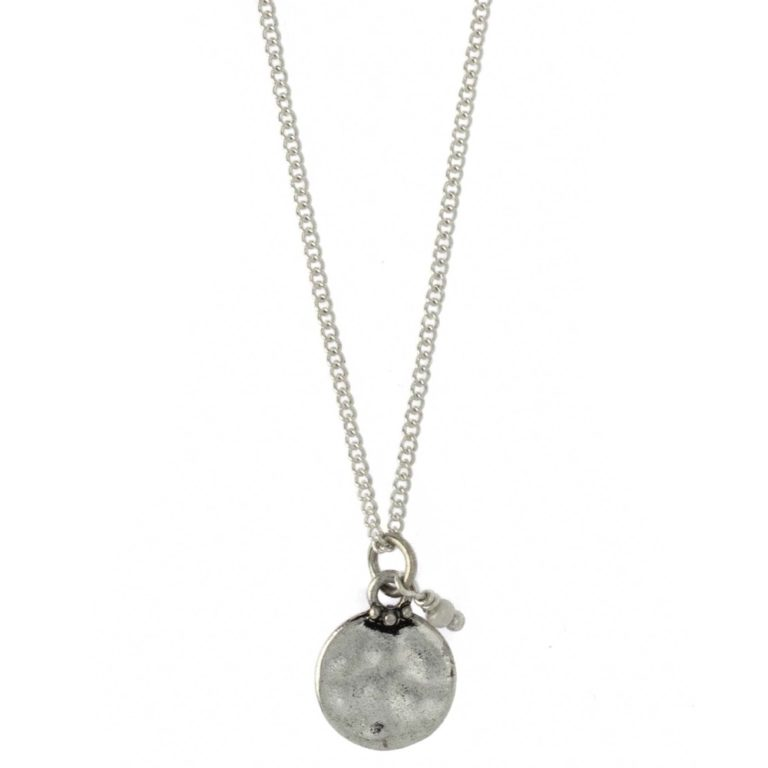 Hultquist White Bead Coin Long Necklace Silver 04379S