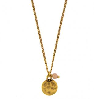 Hultquist Coral Bead & Coin Necklace Gold 04389G