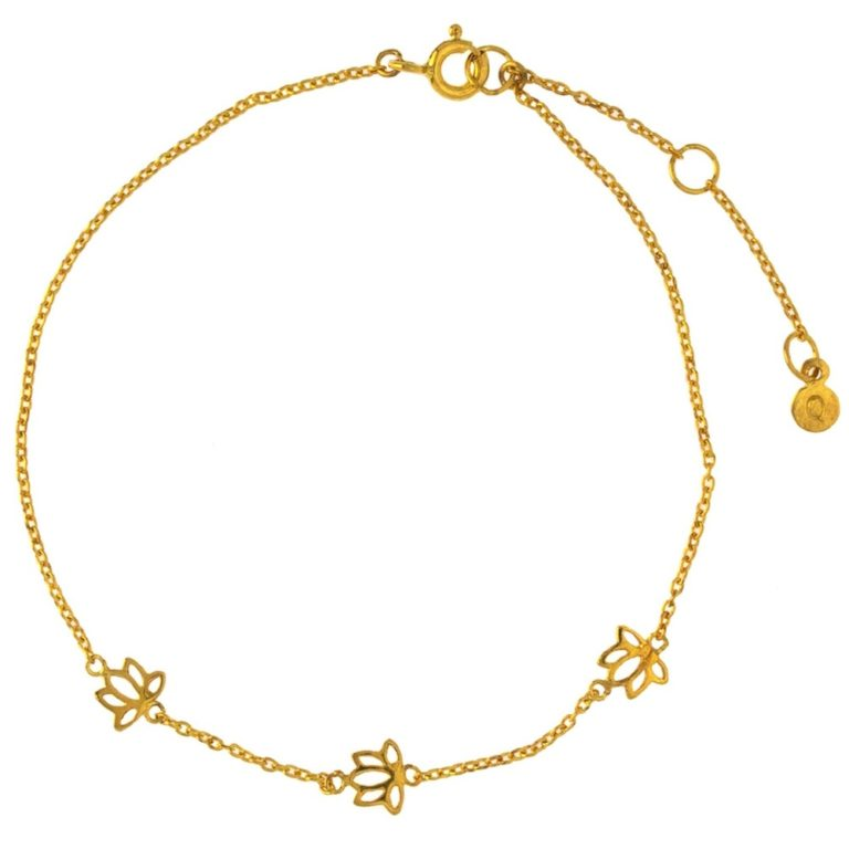 Hultquist Lotus Flower Anklet Gold S03011G