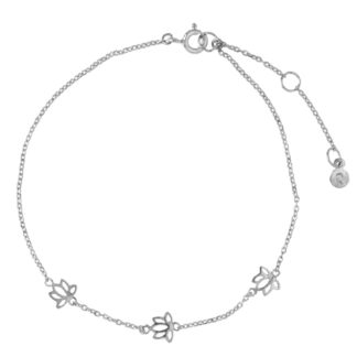 Hultquist Lotus Flower Anklet Silver S03011S