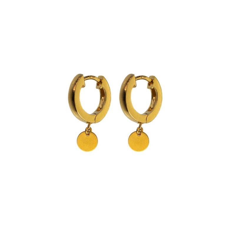 Hultquist Coin Hoop Earrings Gold 04518G