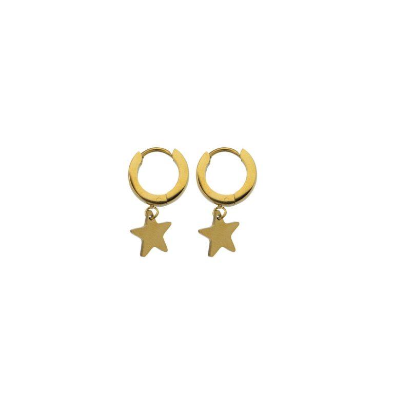 Hultquist Star Hoop Earrings Gold 62004G