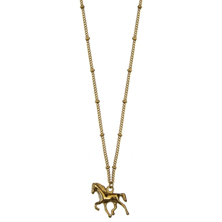 Hultquist Horse Charm Necklace Gold 62006G