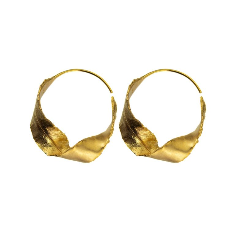 Hultquist Twisted Leaf Earrings Gold S07002G
