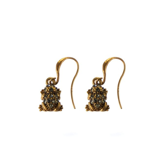 Hultquist Frog Earrings with Swarovski Crystals - Gold 04456G