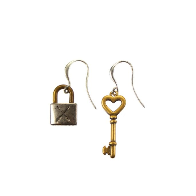 Hultquist Padlock and Key Earrings - BiColour 04466BI