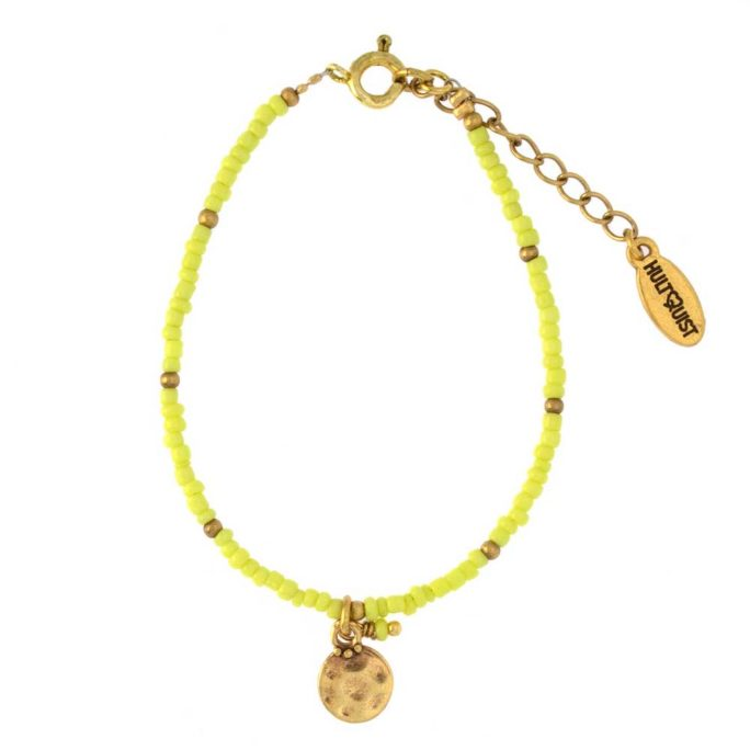 Hultquist Coin & Yellow Bead Bracelet Gold 04378G