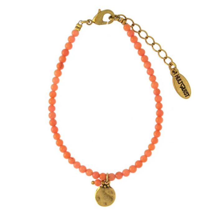 Hultquist Coin & Orange Bead Bracelet Gold 04383G-O