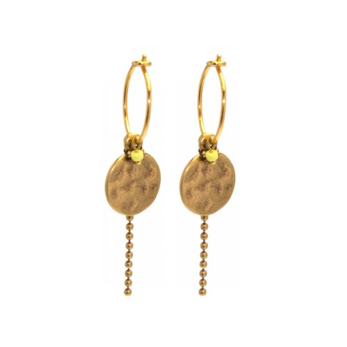 Hultquist Mini Yellow Coin Hoop Earrings Gold 04376-G
